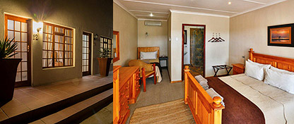 interior and exterior views of guest rooms