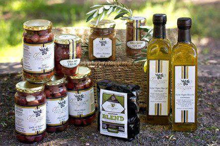 Various olive products produced by Olive Grove Guest Farm™