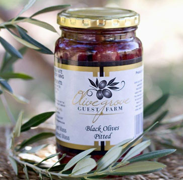Jar of black pitted olives